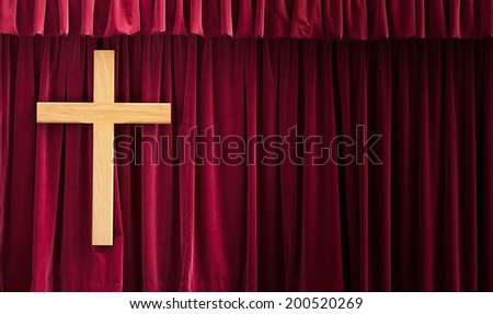 Christain background wiht a wooden cross - stock photo