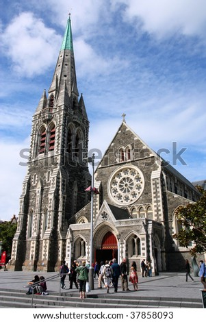 ChristChurch Anglican cathedral in Christchurch, Canterbury, New Zealand - stock photo