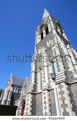 ChristChurch Anglican cathedral in Christchurch, Canterbury, New Zealand. Part of the cathedral collapsed in 2011 earthquake.