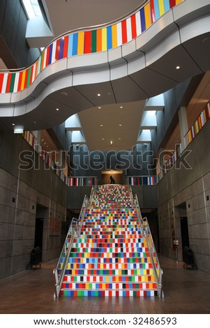 Christchurch Art Gallery interior in New Zealand. Colorful stairs. - stock photo