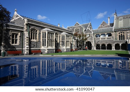 Christchurch Arts Centre - old landmarks in Christchurch, New Zealand - stock photo