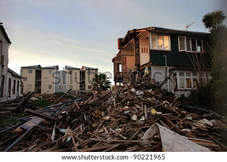 CHRISTCHURCH, CANTERBURY/NEW ZEALAND – JULY 11: A general view shows quake-damaged buildings in Christchurch, New Zealand.   on July 11, 2011 in Christchurch, New Zealand.  - stock photo