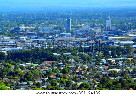 CHRISTCHURCH - DEC 08 2015:Aerial view of Christchurch city center new skyline.In 2011 earthquake the city were badly affected with damage to buildings and infrastructure killing 185 people. - stock photo