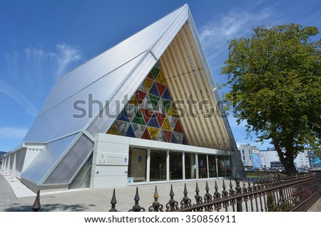 CHRISTCHURCH - DEC 04 2015:Cardboard Cathedral.It's temporary home to ChristChurch Cathedral that damaged in 2011 Christchurch earthquake. It's the only cathedral made of cardboard in the world. - stock photo