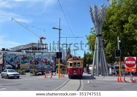 CHRISTCHURCH - DEC 04 2015:Christchurch Tramway tram system.The tramway operate since 1882 and become one of the symbols of Christchurch and a popular attraction for tourists and locals alike. - stock photo