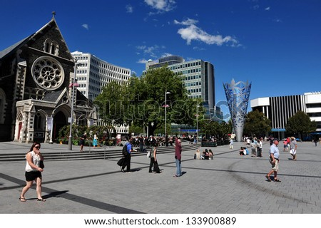 CHRISTCHURCH - FEB 27:Christchurch Cathedral Feb 27 2009,NZ.Christchurch earthquake in Feb 2011 killed 185 people and caused damage of NZ$15 billion one of the most costliest earthquake in the world - stock photo