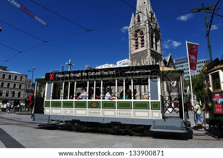 CHRISTCHURCH - FEB 27:Christchurch Tramway Feb 27 2009,NZ.Christchurch earthquake in Feb 2011 killed 185 people and caused damage of NZ$15 billion one of the most costliest earthquake in the world - stock photo