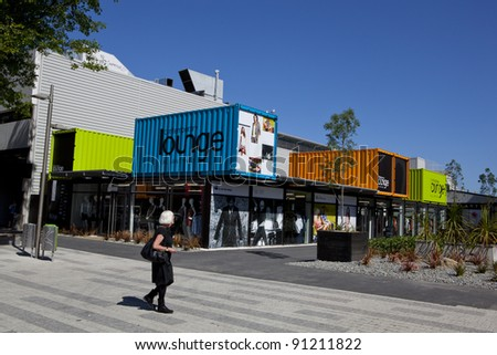 CHRISTCHURCH, NEW ZEALAND - DEC 1: Christchurch main shopping mall rebuilt using shipping containers painted in bright colours, getting back to normality after the earthquake, December 1 2011. - stock photo