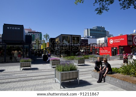 CHRISTCHURCH, NEW ZEALAND - DEC 1:Christchurch main shopping mall rebuilt using shipping containers painted in bright colours, getting back to normality after the earthquake, December 1 2011. - stock photo
