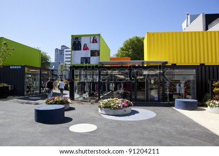 CHRISTCHURCH, NEW ZEALAND - DEC 1:City Mall, new shopping precinct created in aftermath of earthquakes utilising shipping containers,December 1st 2011, Christchurch New Zealand - stock photo