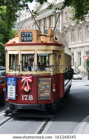 CHRISTCHURCH, NEW ZEALAND - DECEMBER 11 - A tram in Christchurch travels along its daily route on December 11th 2007. - stock photo