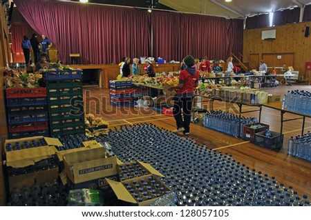 CHRISTCHURCH, NEW ZEALAND, FEBRUARY 26, 2011 - Food stockpiled in a school hall for distribution to victims of the 6.4 earthquake in Christchurch, South Island, New Zealand, 22-2-2011 - stock photo