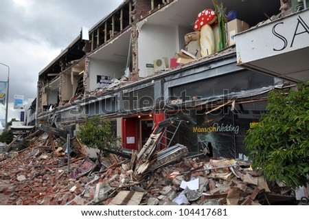 CHRISTCHURCH, NEW ZEALAND - FEBRUARY 23: The popular Merivale fashion shopping centre is one of the worst hit areas from a massive earthquake on February 23, 2011 in Christchurch, New Zealand. - stock photo