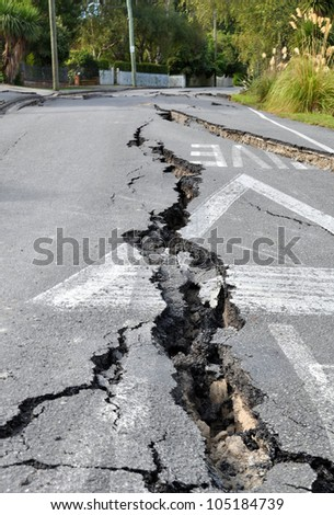 CHRISTCHURCH, NEW ZEALAND - FEBRUARY 24: The streets of Avonside are shaken to pieces by the latest and most devastating earthquake on February 24, 2011 in Christchurch. - stock photo