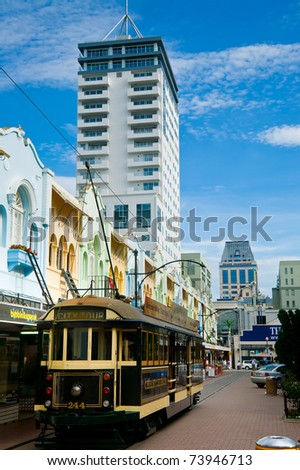 CHRISTCHURCH, NEW ZEALAND - JANUARY 20: Restored vintage tramway ride through Christchurch Central City on January 20, 2010. City tour tram rides now closed due to 2011 Canterbury earthquake - stock photo
