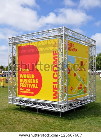 CHRISTCHURCH, NEW ZEALAND - JANUARY 22: The entrance to the 20th World Buskers Festival in Hagley Park on January 22, 2013 in Christchurch. - stock photo