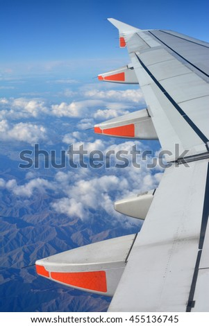 Christchurch, New Zealand - July 17, 2016: Flying in a Jetstar A320 Aircraft over the Kaikoura Mountains in North Canterbury, New Zealand.