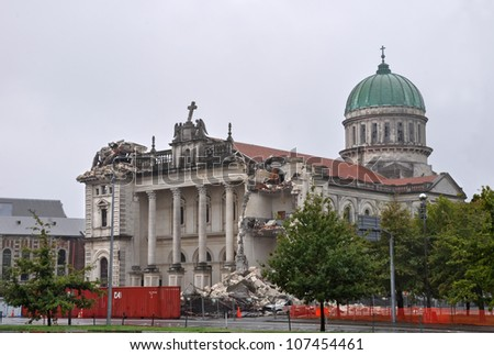 CHRISTCHURCH, NEW ZEALAND - MARCH 20: The Catholic Cathedral in Madras Street, one of Christchurch's architectural gems is destroyed by the massive earthquake on March 20, 2011 in Christchurch. - stock photo