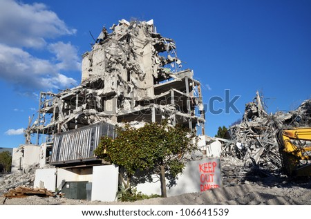 CHRISTCHURCH, NEW ZEALAND - MAY 27: The destruction of the Terrace On The Park apartments building on May 27, 2012 in Christchurch. Earthquakes caused the damage. - stock photo