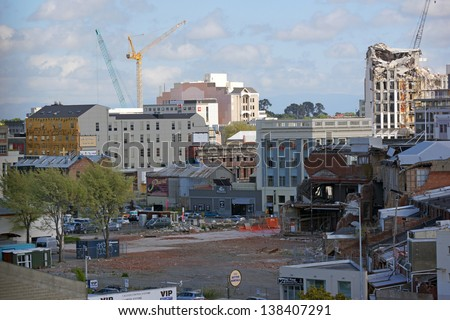 CHRISTCHURCH, NEW ZEALAND, NOVEMBER 16: Demolition of tall buildings continues in Christchurch, New Zealand on 16-11-2012. 182 people died in the 6.4 earthquake the previous year.