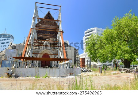 CHRISTCHURCH, NEW ZEALAND - November 24, 2014: Downtown of Christchurch damaged by earthquake in February 2011 - stock photo