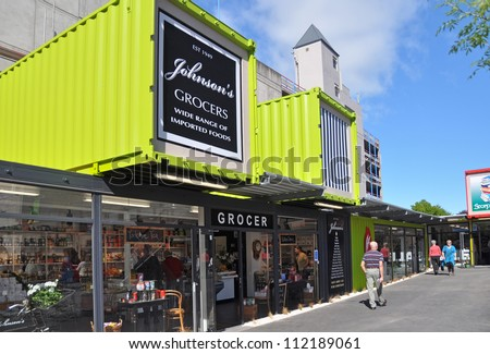 CHRISTCHURCH, NEW ZEALAND - NOVEMBER 03: Iconic Christchurch grocery store Johnson's has reopened in a shipping container after the devastating earthquake on November 03, 2011 in Christchurch. - stock photo