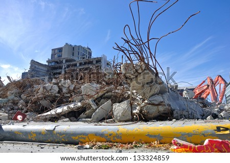 CHRISTCHURCH, NEW ZEALAND, NOVEMBER 16, 2012 - Piles of rubble in Christchurch, South Island, New Zealand, since the big earthquake - stock photo