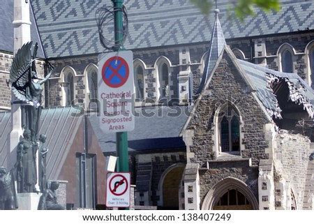 CHRISTCHURCH, NEW ZEALAND, NOVEMBER 16 - The iconic Anglican Cathedral remains a ruin in Christchurch, New Zealand, 16-11-2012. 182 people died in the 6.4 earthquake the previous year. - stock photo