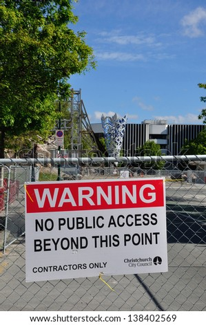 CHRISTCHURCH, NEW ZEALAND, NOVEMBER 16 - The iconic Anglican Cathedral remains cordoned off in the earthquake-damaged red zone in Christchurch, New Zealand on 16-11-2012. - stock photo
