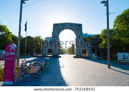 Christchurch, New Zealand - October 31, 2017 :The Bridge of Remembrance war memorial in Christchurch downtown, New Zealand.