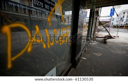 CHRISTCHURCH, NEW ZEALAND - SEPT 9: Widespread damage is caused by a 7.1 magnitude earthquake that struck on 4 September. Strong aftershocks continue. 9 September 2010 in Christchurch, New Zealand - stock photo