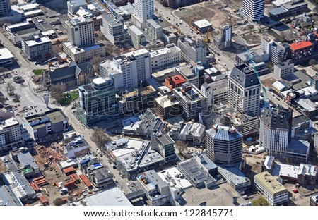 CHRISTCHURCH, NEW ZEALAND - SEPTEMBER 21, 2011: Aerial close-up view of building demolitions in the central city after recent devastating earthquakes on September 21, 2011 in Christchurch. - stock photo