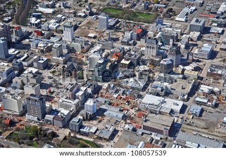 CHRISTCHURCH, NEW ZEALAND - SEPTEMBER 21: Aerial view of Christchurch reveals building demolitions in the central city after recent devastating earthquakes on September 21, 2011 in Christchurch. - stock photo