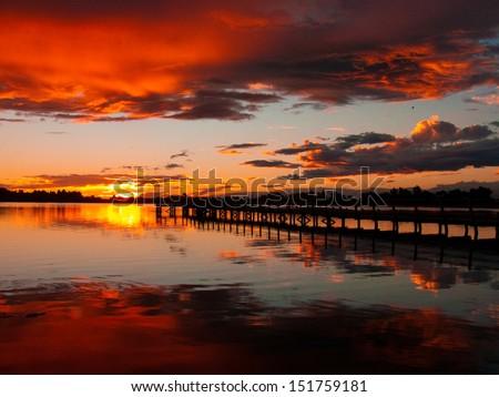 Christchurch New Zealand Sunset - stock photo