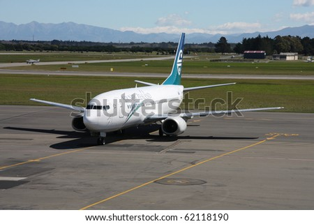 CHRISTCHURCH, NZ - MARCH 18: Air New Zealand A320 at Christchurch International Airport on March 18, 2009. On Nov 3, 2009 Air New Zealand has ordered 14 new A320s, with 11 more options. - stock photo