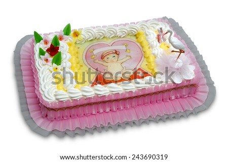christening cake - stock photo