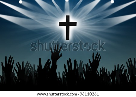 Christian Background: Silhouettes of hands worshiping Jesus - stock photo