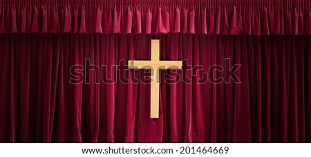 Christian background wiht a wooden cross - stock photo