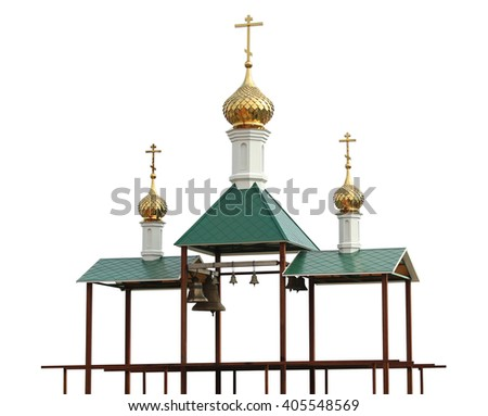 Christian belfry with bells. Isolation on a white background. Clipping path. - stock photo