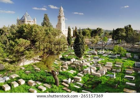 Christian cemetery near Dormition abbey in Jerusalem. - stock photo