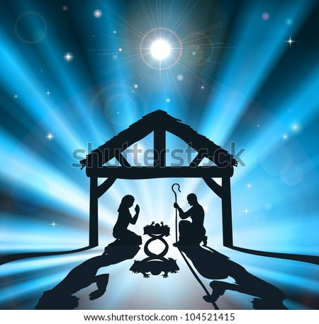 Christian Christmas nativity scene of baby Jesus in the manger with the virgin Mary and Joseph - stock photo