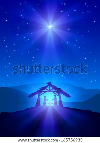 Christian Christmas night with shining star and Jesus, illustration. - stock photo