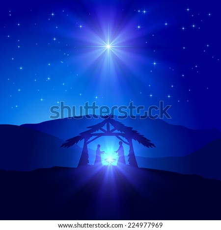 Christian Christmas scene with birth of Jesus and shining star on blue sky, illustration. - stock photo