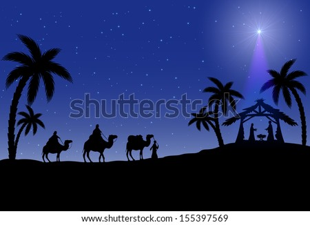 Christian Christmas scene with the three wise men and star, illustration. - stock photo