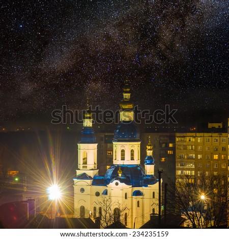 christian church at the night - stock photo