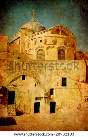 Christian church in old city Jerusalem Israel. Imitation of an ancient picture