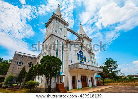 Christian church in the small town of Thailand. - stock photo