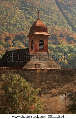 Christian church on autumn background - stock photo