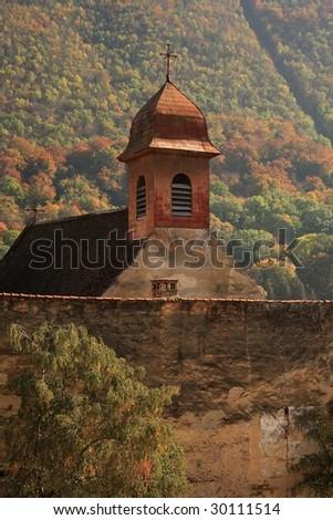Christian church on autumn background - stock photo