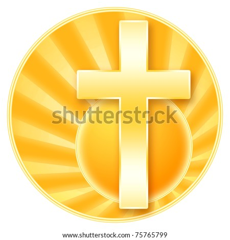 Christian cross and rising sun, golden illustration with isolated over white background - stock photo